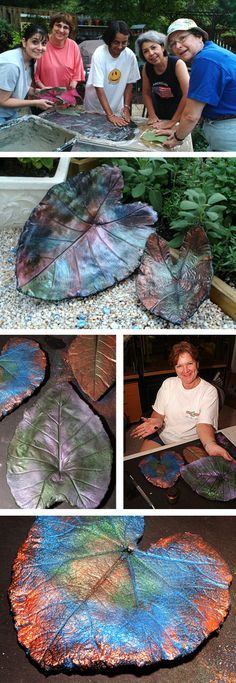 Re-post: Concrete leaf casting ~ These are amazing!! They look like metal! This article tells about the pigments and paints, and here is a video on how to make them: http://www.concretegardenleaves.com/concrete-leaf.htm | Garden Muse