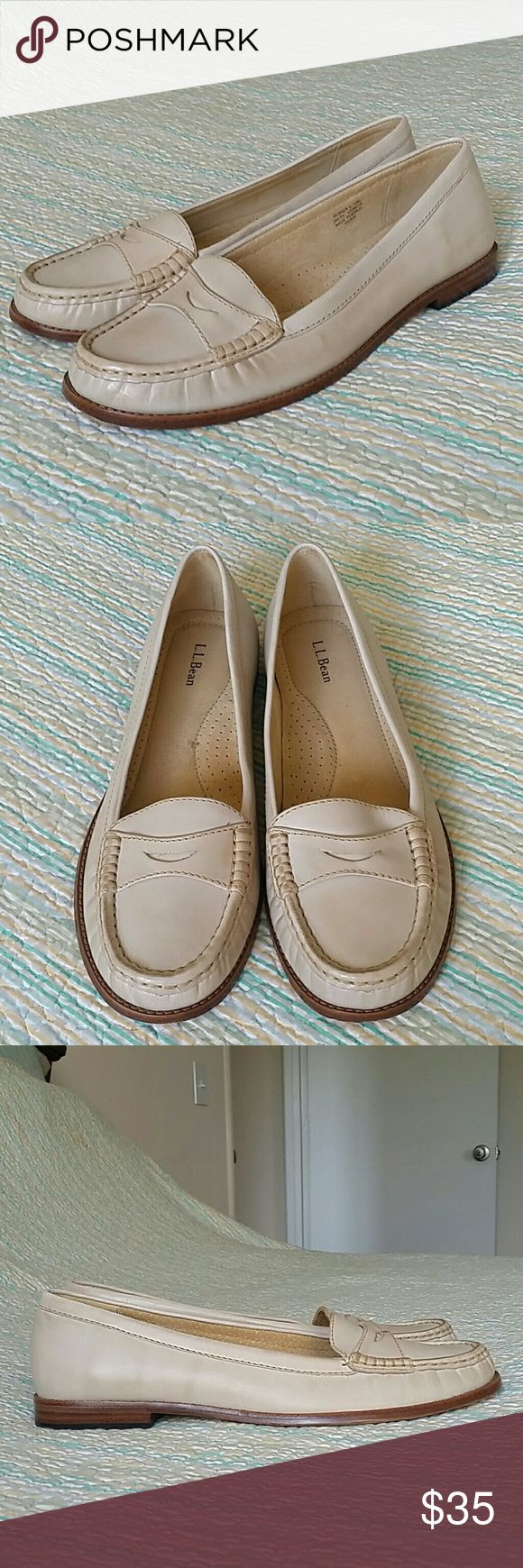 LL Bean Ivory Off White Cream Leather Loafer Sz 10 LL Bean Ivory Off White Cream Leather Penny Loafers Slip On Flats Wms Sz 10 M L.L. Bean Shoes Flats & Loafers