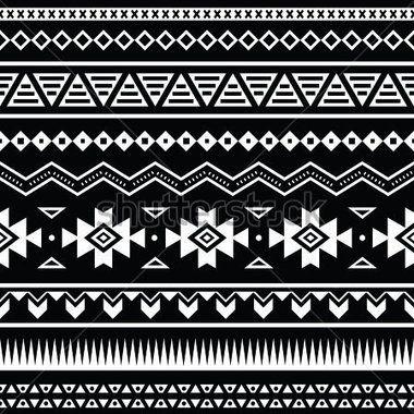 Modèle sans couture aztèque, fond noir et blanc tribal