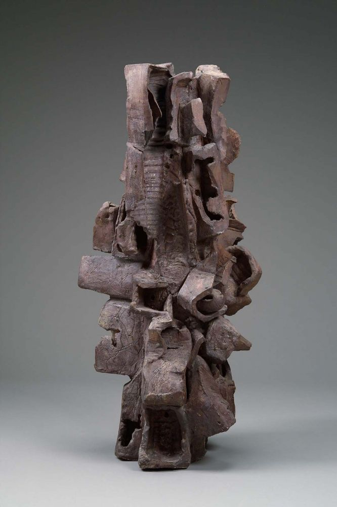 """""""Camelback Mountain,"""" 1959, Peter Voulkos   Voulkos assembled Camelback Mountain from separate wheel-thrown pots which were then smashed and compressed to destroy their symmetrical shapes. Stacked and attached, the altered pots create a dynamic form."""