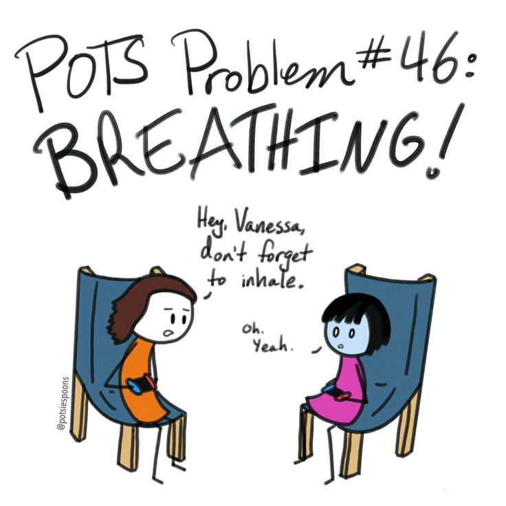 """[Drawing of a stick-figure guy and girl playing video games together. Above them are the words, """"POTS Problem #46: Breathing!"""" The guy looks at the girl and says, """"Hey, Vanessa, don't forget to inhale."""" The girl, whose face is slightly blue, replies,..."""