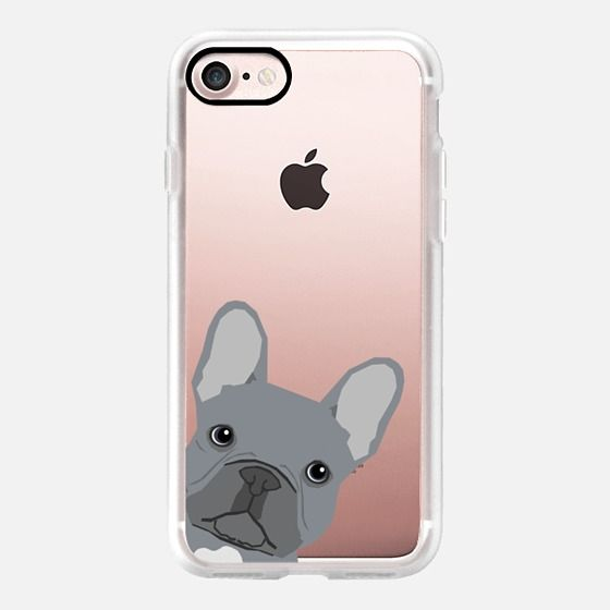Grey French Peeking funny french bulldog pet gift for small dog owner perfect gift for frenchie dog owner - Classic Grip Case