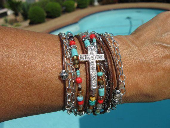 Boho  Indian Summer  Endless Leather Wrap