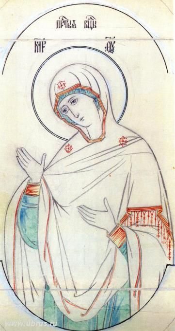 "книга : Прориси иконы <-- which might say ""Mary: Mother of God"" - but I don't really know what it says - just who the image is of (sketch of an icon) - btw - if you feel like knowing about the stars on her clothes - they represent that she was a virgin before, during, and after the birth of Jesus - absolutely standard (necessary) for iconography of Mary (even when all three aren't visible)"