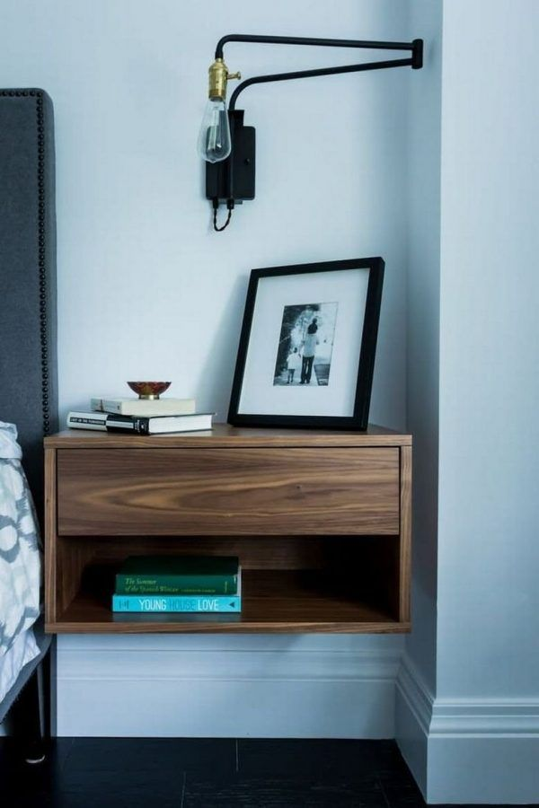17 best ideas about wall mounted bedside table on pinterest small bedside lamps rustic night. Black Bedroom Furniture Sets. Home Design Ideas