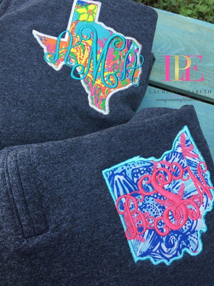 Lilly Pulitzer Inspired State Monogram Quarter Zip Pullover Sweatshirt by LPEdesigns on Etsy https://www.etsy.com/listing/244576306/lilly-pulitzer-inspired-state-monogram