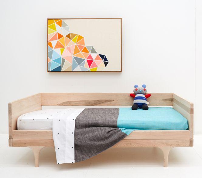 Rachel Castle's new cot bedding in blue, via WeeBirdy.com.