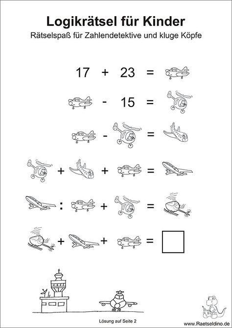 Logikrätsel für Kinder  Rätsel für kinder, Logik rätsel