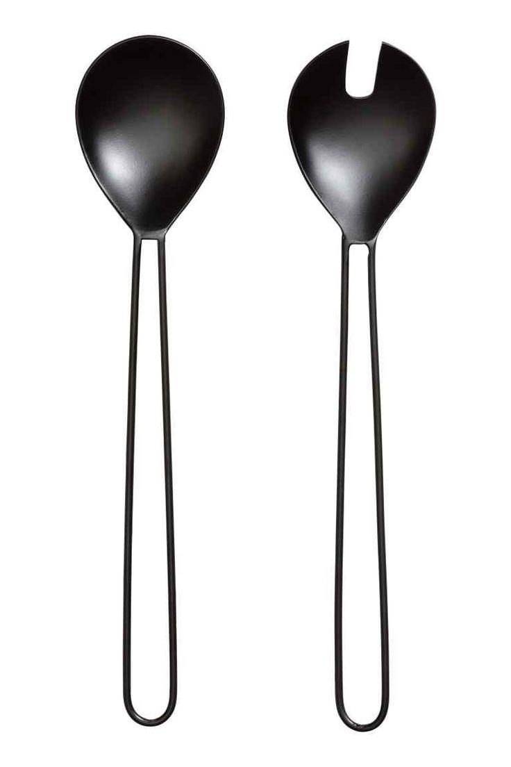 Metalowe sztućce do sałaty - Czarny - HOME | H&M PL 1