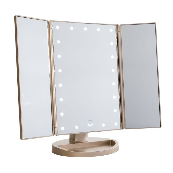 Delightful Touch Trifold Dimmable LED Makeup Mirror