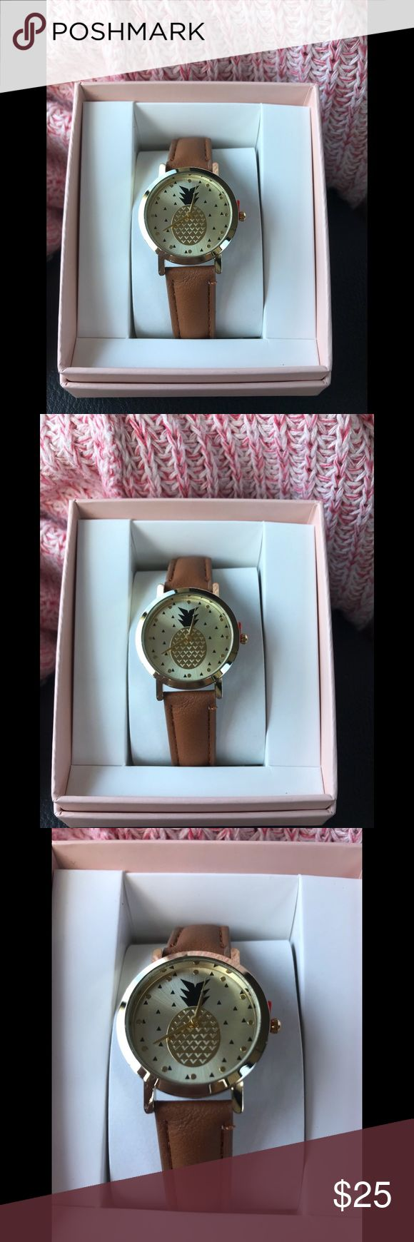 Geneva Gold Plated Analog Pineapple Watch Brand new with box. Geneva Gold Plated Analog Watch with faux leather band & Pineapple face!   This watch will definitely spice your wardrobe up, whether it's for work, career wear or just everyday use this will definitely add some fun to your everyday look 💋   Never taken out of the box!! In flawless condition!  There is however, a 1-year warranty included just in case anything happens later on. Bundle & Save! check out my other jewelry!! Accepting…
