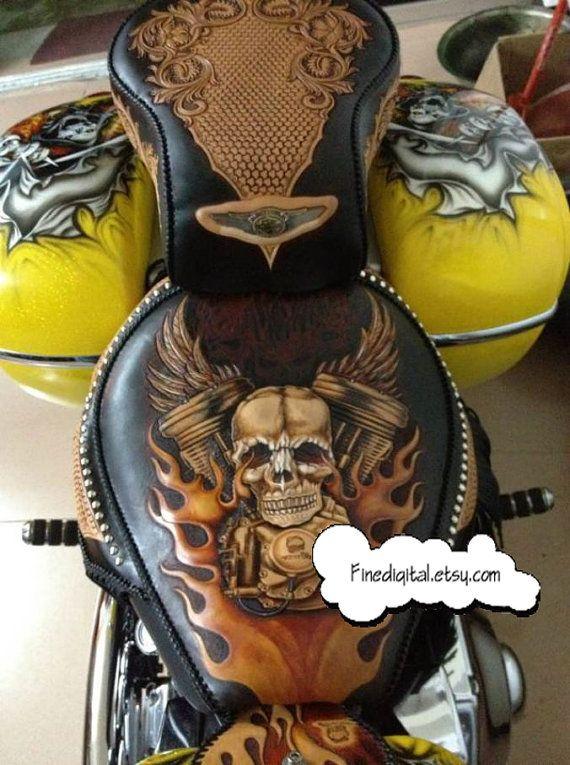 Leathercraft Pattern Harley Davidson motorcycle by Finedigital, $10.00