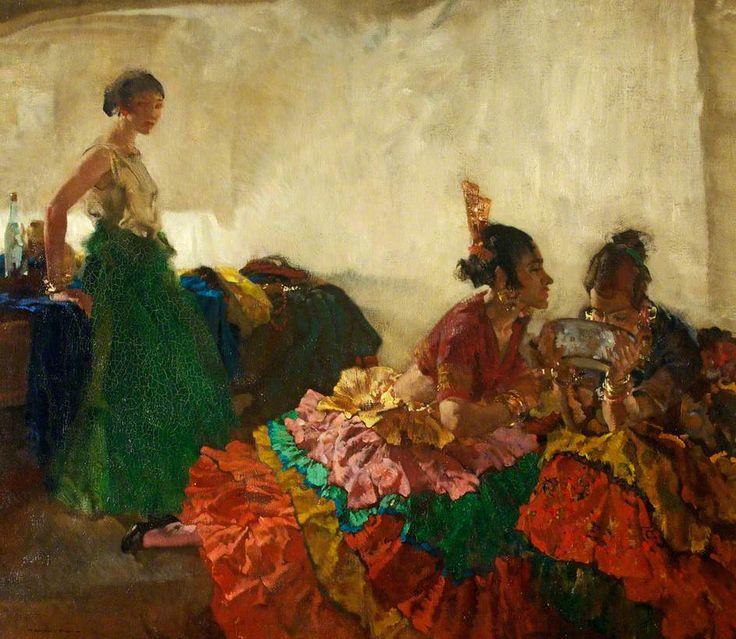 Gitana Dancers Resting, Albaicin, Granada by Sir William Russell Flint (1880-1969)