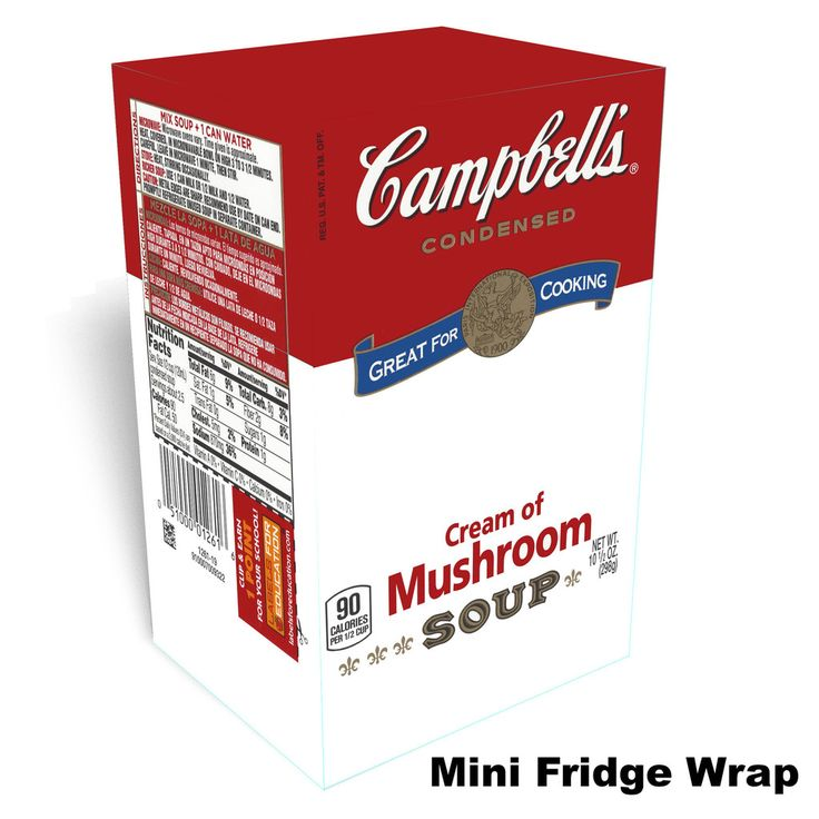 Campbells Cream of Mushroom mini fridge wrap This is a premium vinyl cover for your refrigerator or freezer. However, the final dimensions of the refrigerator