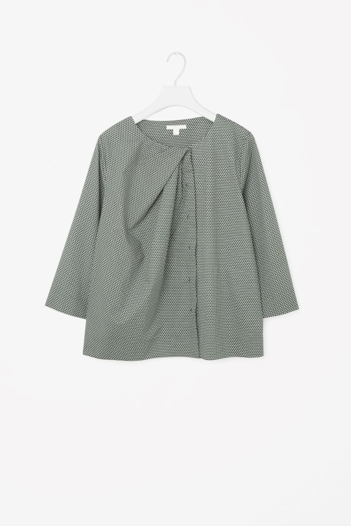 COS image 4 of Draped-neck printed shirt in Jade