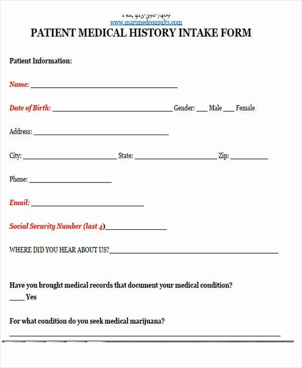 30 Medical Intake Forms Template In 2020 Templates Project