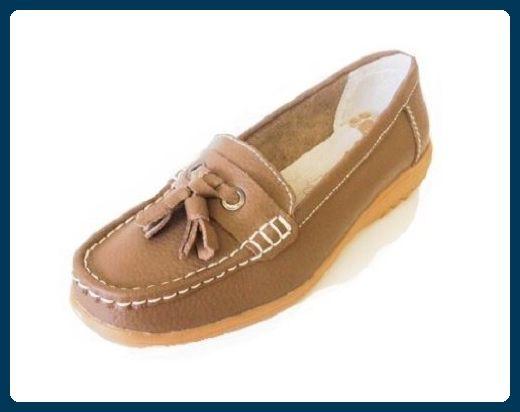 Damen Schwarz Marineblau Leder taupe Casual Mokassins Komfort flache Schuhe, Beige - Taupe - Größe: 40 2/3 EU - Slipper und mokassins für frauen (*Partner-Link)