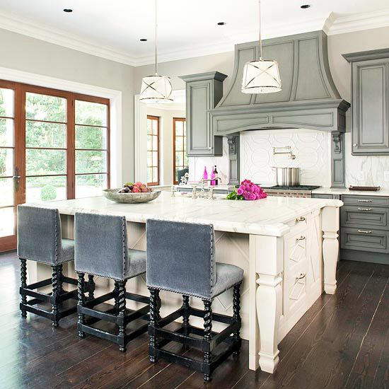 Gray cabinets - a pewter glaze on the cabinets with a lighter gray wall.