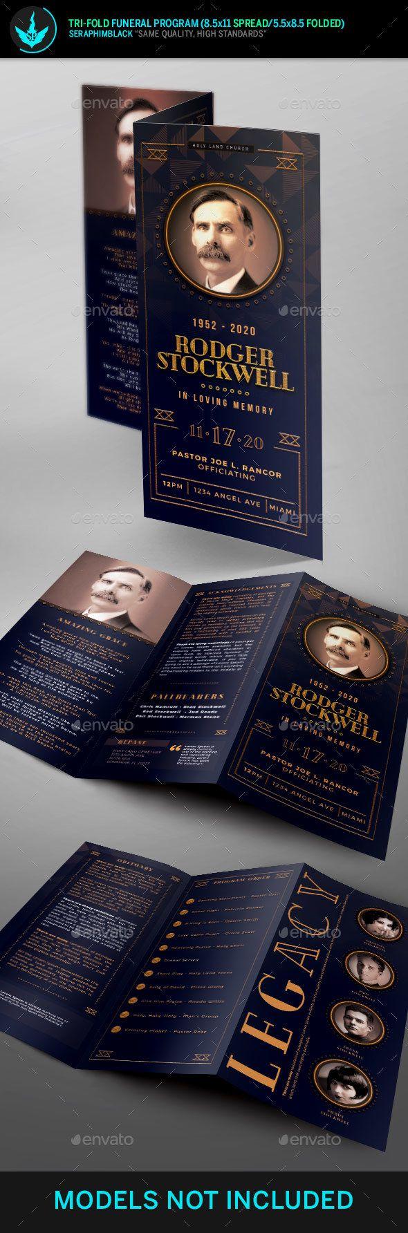 Art Deco #Tri-Fold Funeral Program Template - Informational #Brochures