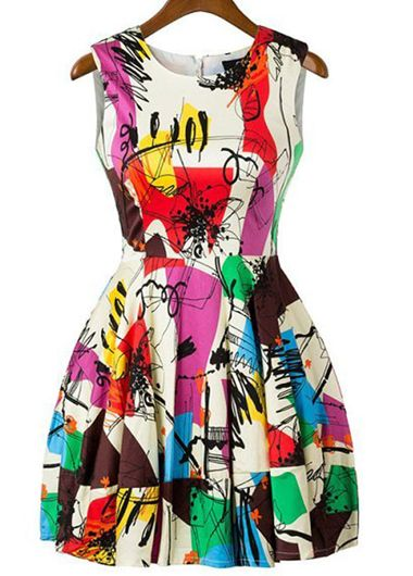Round Neck Sleeveless Mini Dress with Graffiti Pattern | Rosewe.com