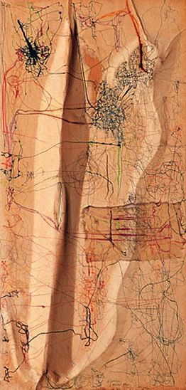 Untitled - Mira Schendel.[ant exercise - imagine the lines of a 2d drawing represent 3d structures and draw an ants path around them][make 3d sculpture of ants path]