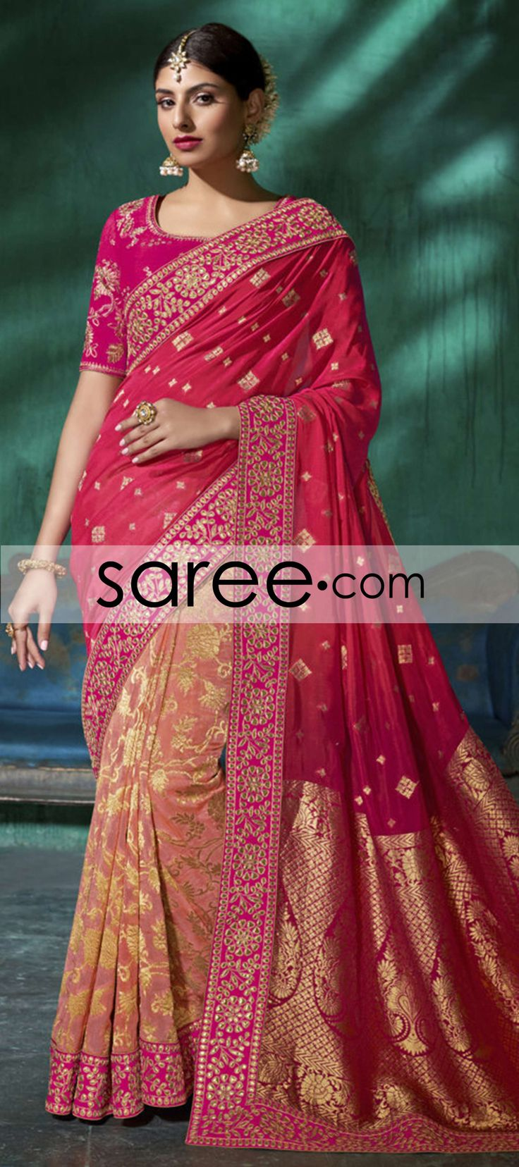 Pink and Peach Viscose Saree With Weaving