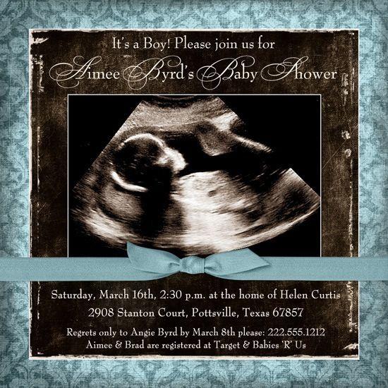 Blue & Brown Damask Ultrasound Baby Boy Shower Invitations