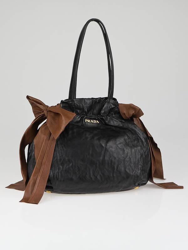 Prada Black/Brown Nappa Antique Leather Bow Bag BR4206 | Prada ...