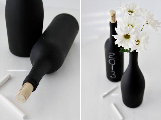Chalk It Up: 40 Creative Ways to Use Chalkboard Paint | Brit + Co.  Chalkboard wine bottles
