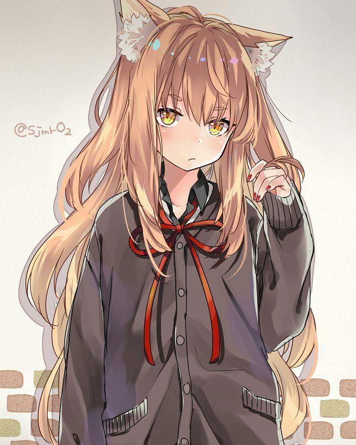 Anime wolf girl with blonde hair
