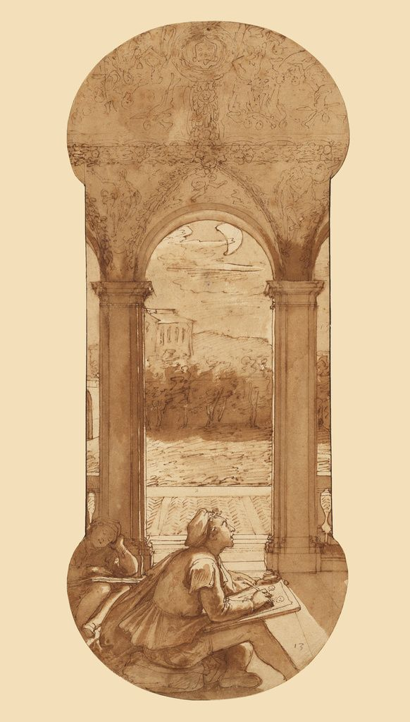 Federico Zuccaro (Federico Zuccari), c.1540/1541-1609, Italian, Taddeo Copying Raphael's Frescoes in the Loggia of the Villa Farnesina, Where He is Also Represented Asleep, c.1595.  Pen and brown ink, brush with brown wash, over black chalk and touches of red chalk, 42.4 x 17.5 cm.  J. Paul Getty Museum, Los Angeles.  Mannerism.