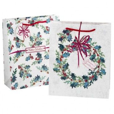 Holly & Wreath Medium Gift Bags 2 Pack