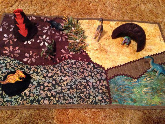 Dinosaur playmat by StitchYarnAndThread on Etsy