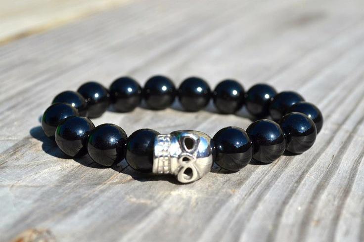 Perlas de Ágata Negro  Calavera Plateada