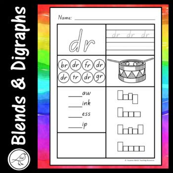 Worksheets for common blends and digraphs. Activities: ♦ write your name. ♦ colour the blend. ♦ trace and write the blend. ♦ find the blend 4 times and colour the circle. ♦ colour the picture. ♦ write the blend to make 4 words. ♦