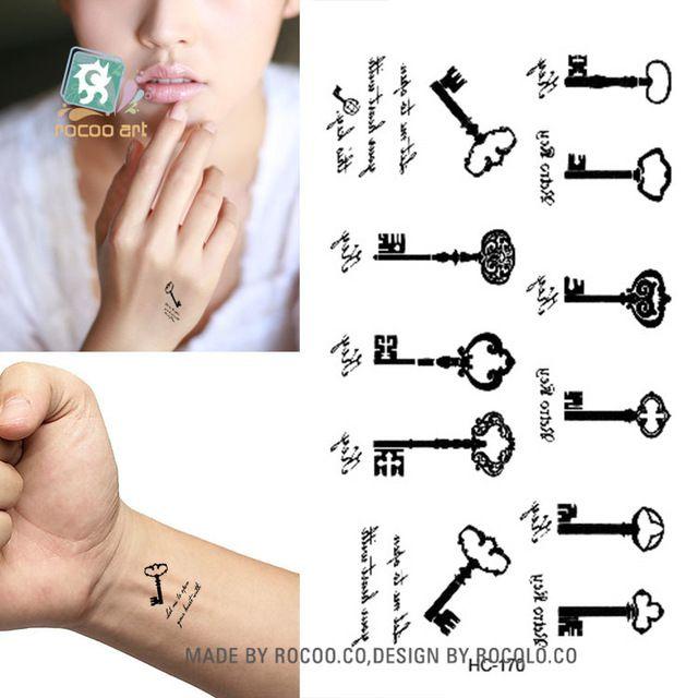 Vücut Sanatı Seks Ürünleri su geçirmez geçici dövmeler erkekler kadınlar için basit siyah anahtar tasarım flaş dövme etiket HC1170