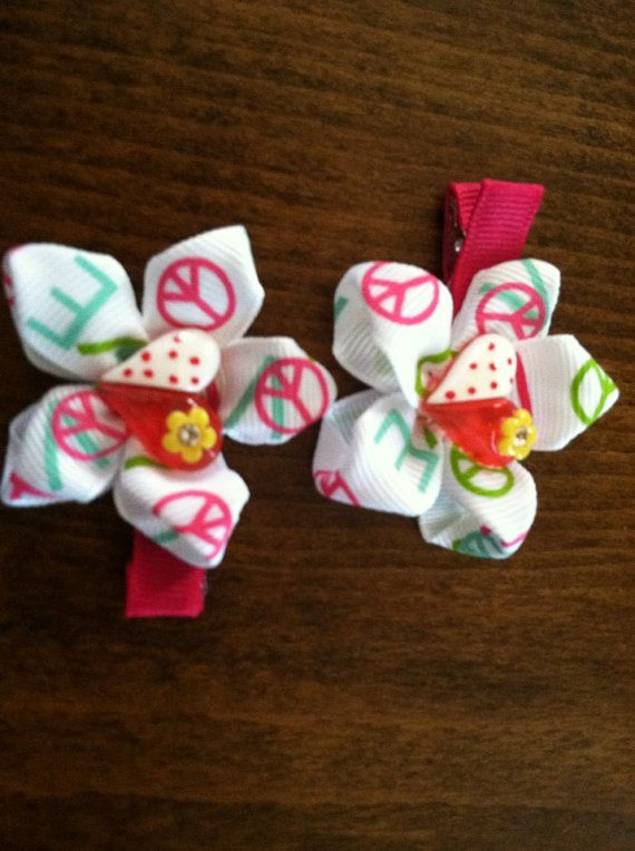 Peace, love and hearts bows on Etsy, $3.00