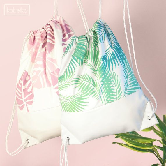 Drawstring Bag-Backpack-White Faux Leather and by kabelkashop