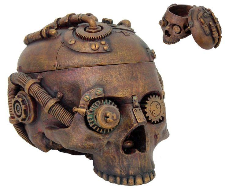 Skull Jewelry Box Steampunk Statue Skeleton Head Figurine Rusty Victorian Sci Fi | eBay