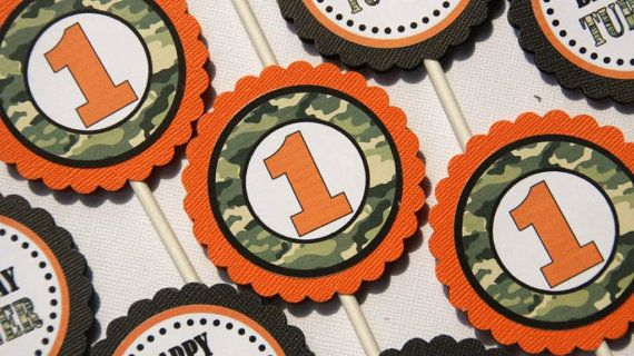 Cupcake Toppers  Orange Hunting Camo Set of 24 by designerfavors