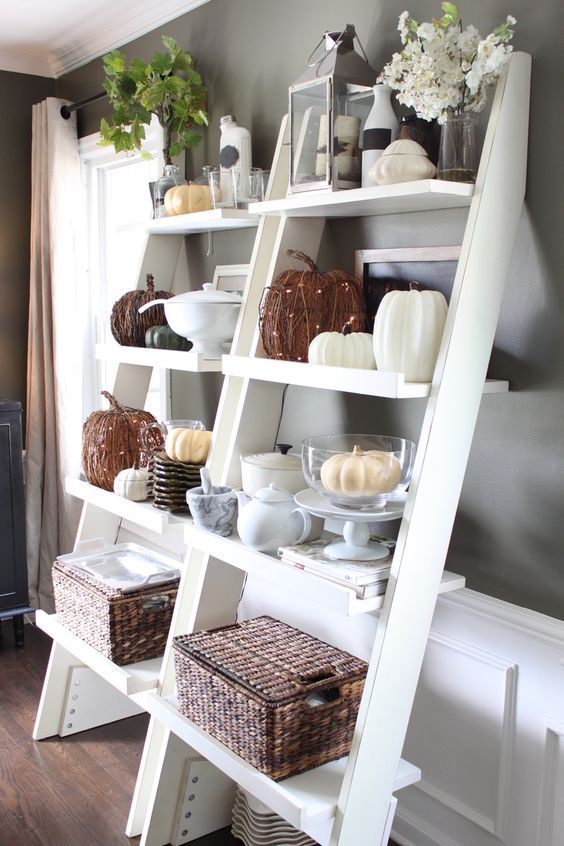 Ladder shelf with white  and wire pumpkins with lights for chic fall decor @pattonmelo