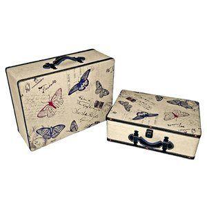 Suitcase with ButterfliesNested for space savingVinyl handlesVinyl ...