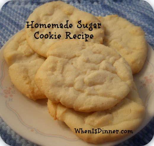 Sugar Cookies. 1 cup sugar, 2 sticks softened butter, 1/2 tsp vanilla extract, 1 egg, 2.25 cups flour. Bake @ 375 for 10-12 minutes.