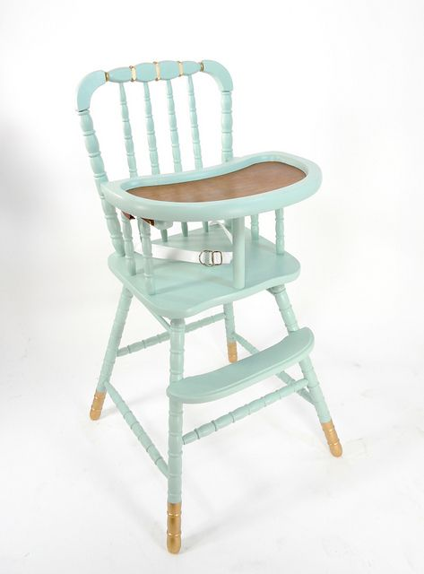 upcycled vintage high chair. i don't know about the gold, but...