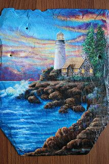 Lighthouse Slate Painting | by sherrylpaintz