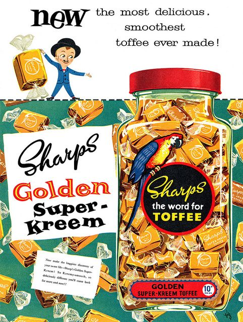 The most delicious, smoothest toffee ever made! #vintage #food #candy #1950s #ads
