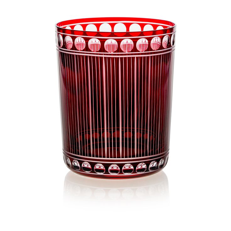 RUBY Handmade Glass Blown Medium Tumbler, Chronica-Ruby 1923, height: 100 mm | top diameter: 82 mm | volume: 330 ml | Bohemian Crystal | Crystal Glass | Luxurious Glass | Hand Engraved | Original Gift for Everyone | clarescoglass.com