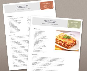 Free Recipe Template (with picture) for 9x13 Recipe Binder