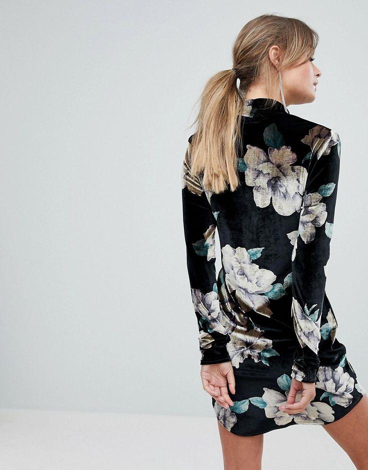 Boohoo Printed Velvet High Neck Dress - Black