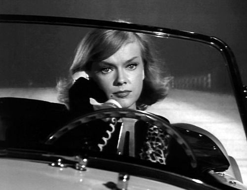 3/14/14  4:25a  ''Honey West'' Anne Francis on the car phone in her Shelby Cobra. ABC TV Friday   1965-66 susiesnapshot.tumblr.com